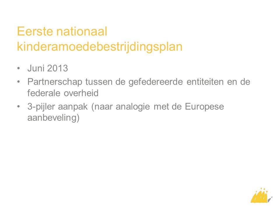 Eerste nationaal kinderamoedebestrijdingsplan Juni 2013 Partnerschap tussen de gefedereerde entiteiten en de federale overheid 3-pijler aanpak (naar analogie met de Europese aanbeveling)