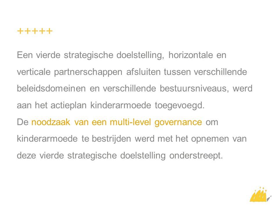 +++++ Een vierde strategische doelstelling, horizontale en verticale partnerschappen afsluiten tussen verschillende beleidsdomeinen en verschillende bestuursniveaus, werd aan het actieplan kinderarmoede toegevoegd.