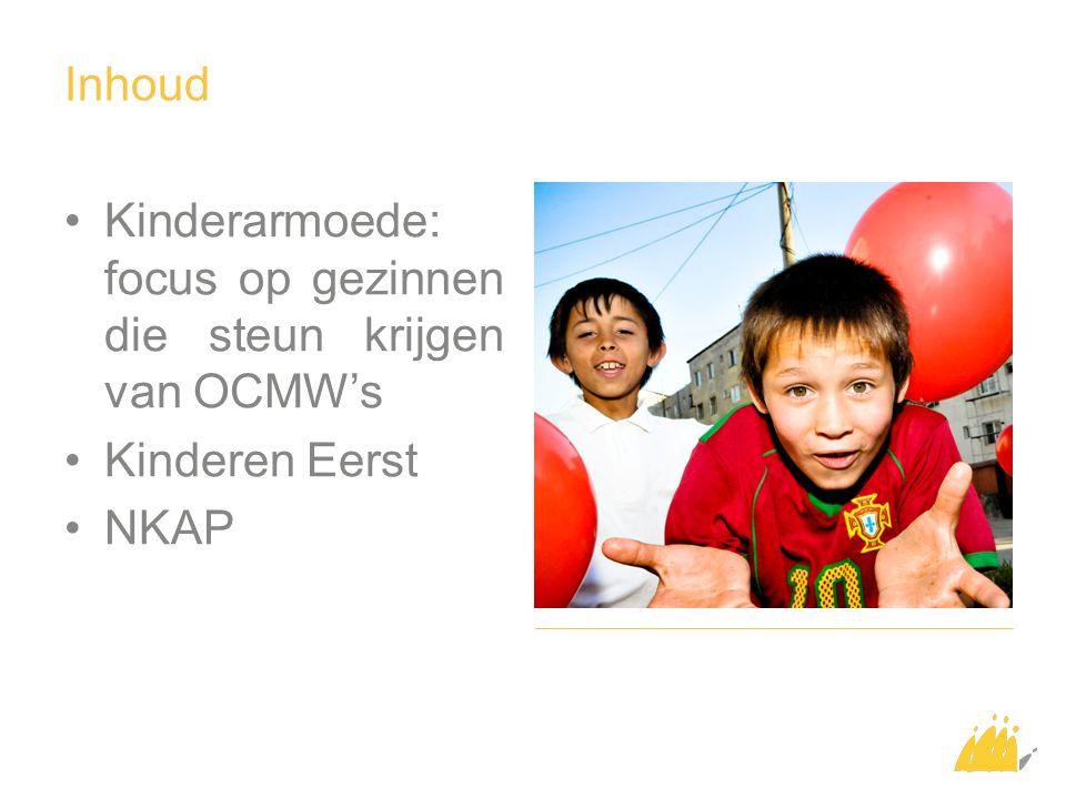Inhoud Kinderarmoede: focus op gezinnen die steun krijgen van OCMW's Kinderen Eerst NKAP