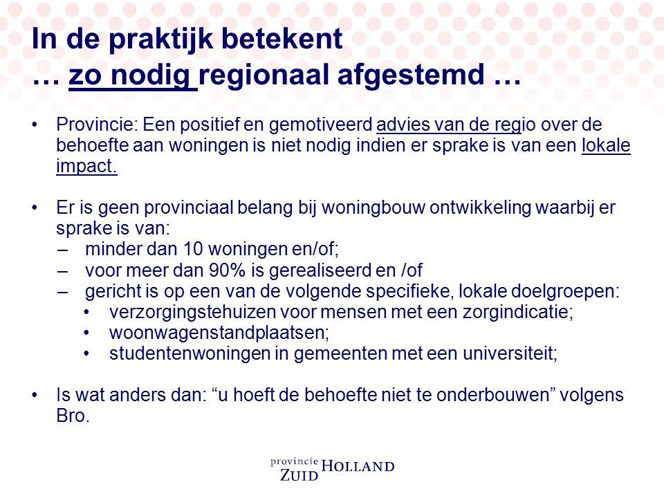In de praktijk betekent … zo nodig regionaal afgestemd … Provincie: Een positief en gemotiveerd advies van de regio over de behoefte aan woningen is n