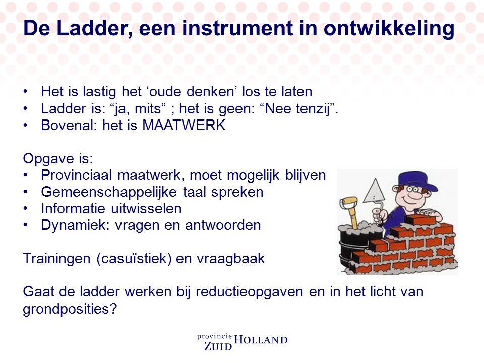 """De Ladder, een instrument in ontwikkeling Het is lastig het 'oude denken' los te laten Ladder is: """"ja, mits"""" ; het is geen: """"Nee tenzij"""". Bovenal: het"""