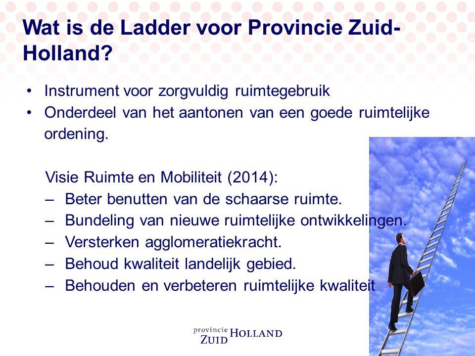 Wat is de Ladder voor Provincie Zuid- Holland? Instrument voor zorgvuldig ruimtegebruik Onderdeel van het aantonen van een goede ruimtelijke ordening.
