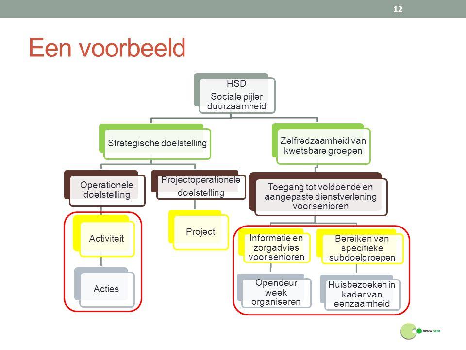 Een voorbeeld 12 HSD Sociale pijler duurzaamheid Strategische doelstelling Operationele doelstelling ActiviteitActies Projectoperationele doelstelling