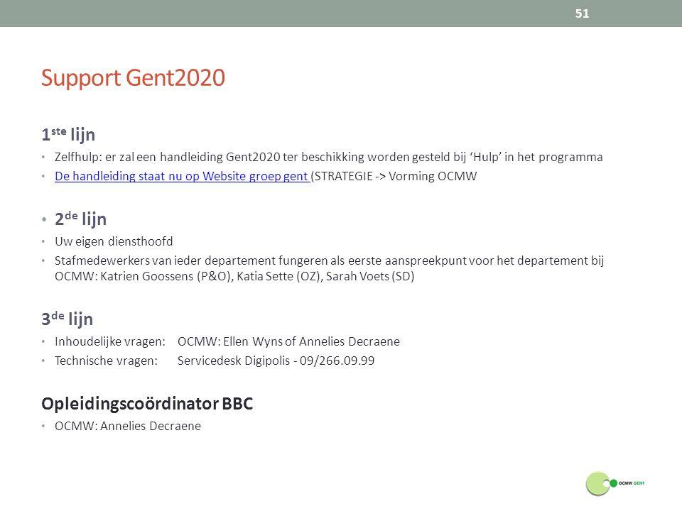 Support Gent2020 1 ste lijn Zelfhulp: er zal een handleiding Gent2020 ter beschikking worden gesteld bij 'Hulp' in het programma De handleiding staat