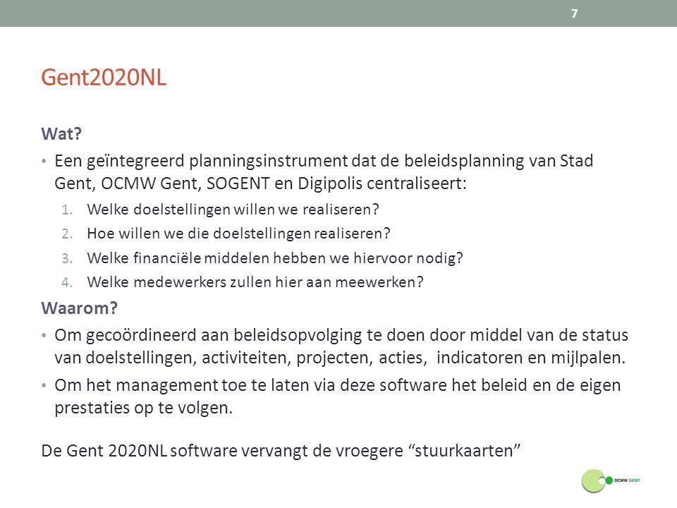 Gent2020NL Wat? Een geïntegreerd planningsinstrument dat de beleidsplanning van Stad Gent, OCMW Gent, SOGENT en Digipolis centraliseert: 1. Welke doel