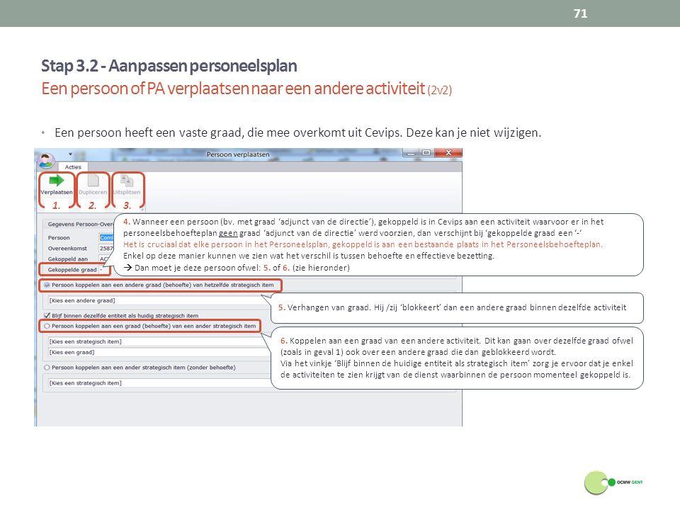Stap 3.2 - Aanpassen personeelsplan Een persoon of PA verplaatsen naar een andere activiteit (2v2) 71 Een persoon heeft een vaste graad, die mee overk