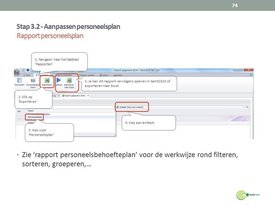 Zie 'rapport personeelsbehoefteplan' voor de werkwijze rond filteren, sorteren, groeperen,… Stap 3.2 - Aanpassen personeelsplan Rapport personeelsplan
