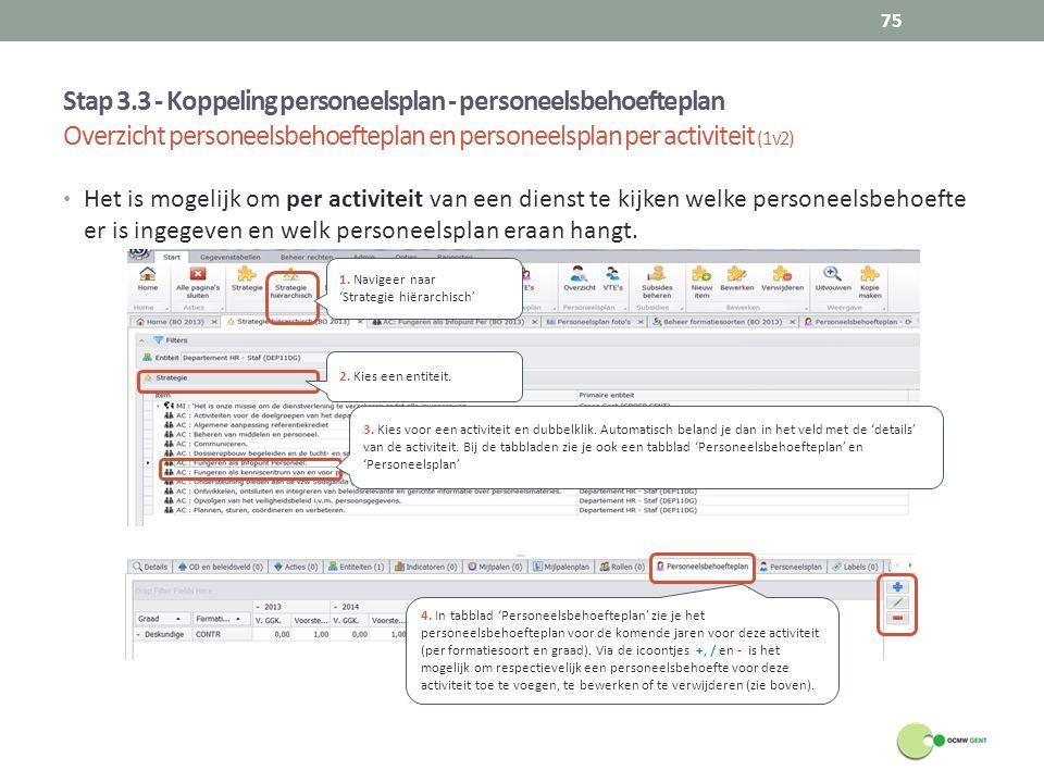 Stap 3.3 - Koppeling personeelsplan - personeelsbehoefteplan Overzicht personeelsbehoefteplan en personeelsplan per activiteit (1v2) 75 Het is mogelij