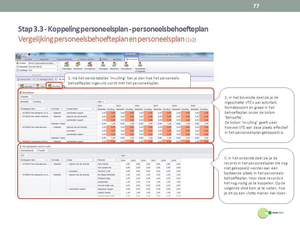 Stap 3.3 - Koppeling personeelsplan - personeelsbehoefteplan Vergelijking personeelsbehoefteplan en personeelsplan (1v2) 77 1. Via het derde tabblad '