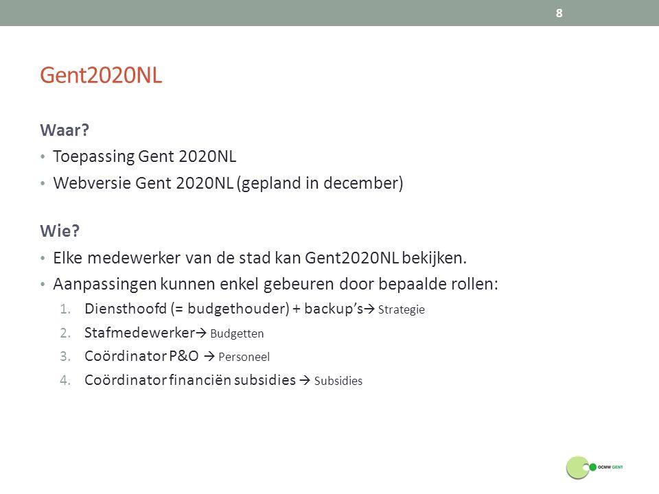 Gent2020NL Waar? Toepassing Gent 2020NL Webversie Gent 2020NL (gepland in december) Wie? Elke medewerker van de stad kan Gent2020NL bekijken. Aanpassi