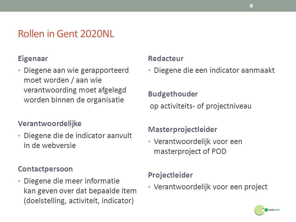Rollen in Gent 2020NL Eigenaar Diegene aan wie gerapporteerd moet worden / aan wie verantwoording moet afgelegd worden binnen de organisatie Verantwoo