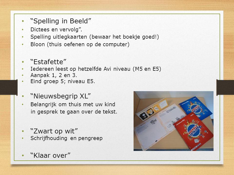 """""""Spelling in Beeld"""" Dictees en vervolg"""". Spelling uitlegkaarten (bewaar het boekje goed!) Bloon (thuis oefenen op de computer) """"Estafette"""" Iedereen le"""