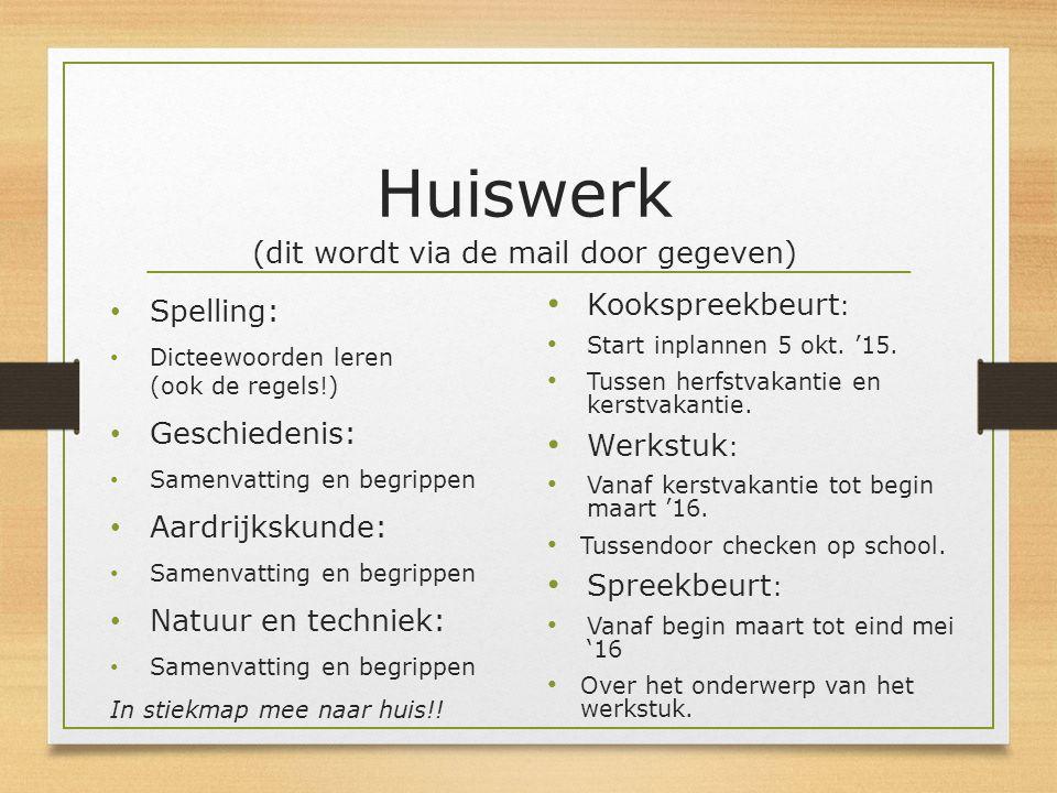 Huiswerk (dit wordt via de mail door gegeven) Spelling: Dicteewoorden leren (ook de regels!) Geschiedenis: Samenvatting en begrippen Aardrijkskunde: S