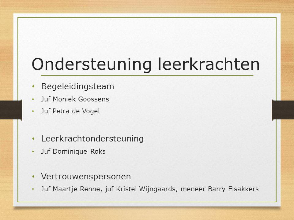 Ondersteuning leerkrachten Begeleidingsteam Juf Moniek Goossens Juf Petra de Vogel Leerkrachtondersteuning Juf Dominique Roks Vertrouwenspersonen Juf
