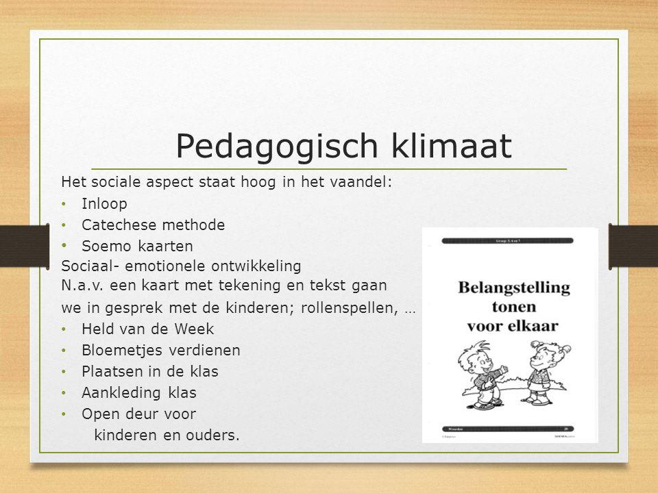 Pedagogisch klimaat Het sociale aspect staat hoog in het vaandel: Inloop Catechese methode Soemo kaarten Sociaal- emotionele ontwikkeling N.a.v. een k