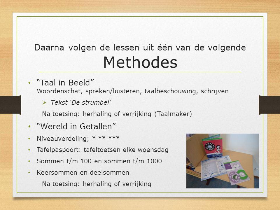 """Daarna volgen de lessen uit één van de volgende Methodes """"Taal in Beeld"""" Woordenschat, spreken/luisteren, taalbeschouwing, schrijven  Tekst 'De strum"""