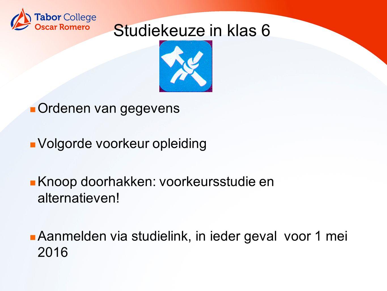 Studiekeuze in klas 6 Ordenen van gegevens Volgorde voorkeur opleiding Knoop doorhakken: voorkeursstudie en alternatieven.