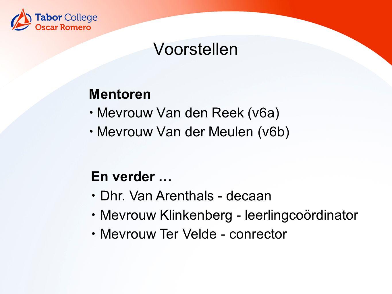 Voorstellen Mentoren Mevrouw Van den Reek (v6a) Mevrouw Van der Meulen (v6b) En verder … Dhr.