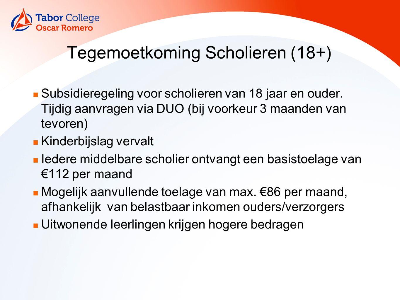 Tegemoetkoming Scholieren (18+) Subsidieregeling voor scholieren van 18 jaar en ouder.