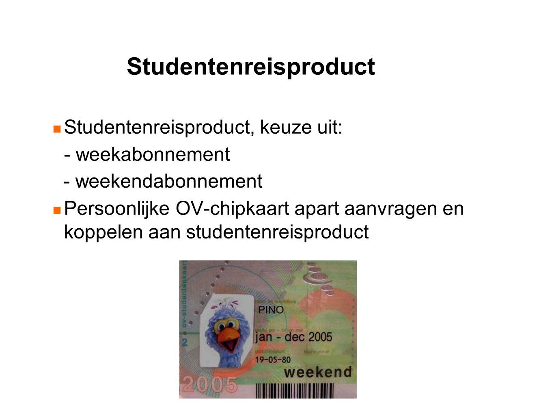 Studentenreisproduct Studentenreisproduct, keuze uit: - weekabonnement - weekendabonnement Persoonlijke OV-chipkaart apart aanvragen en koppelen aan studentenreisproduct