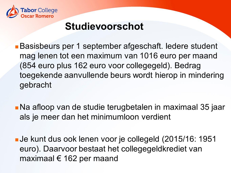 Studievoorschot Basisbeurs per 1 september afgeschaft.