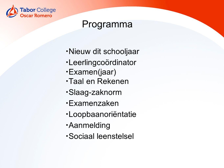 Nieuw dit schooljaar Leerlingcoördinator Examen(jaar) Taal en Rekenen Slaag-zaknorm Examenzaken Loopbaanoriëntatie Aanmelding Sociaal leenstelsel Programma