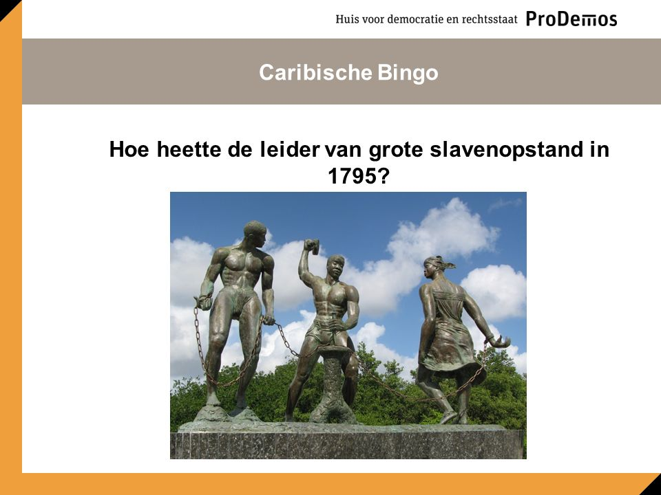 Hoe heette de leider van grote slavenopstand in 1795? Caribische Bingo