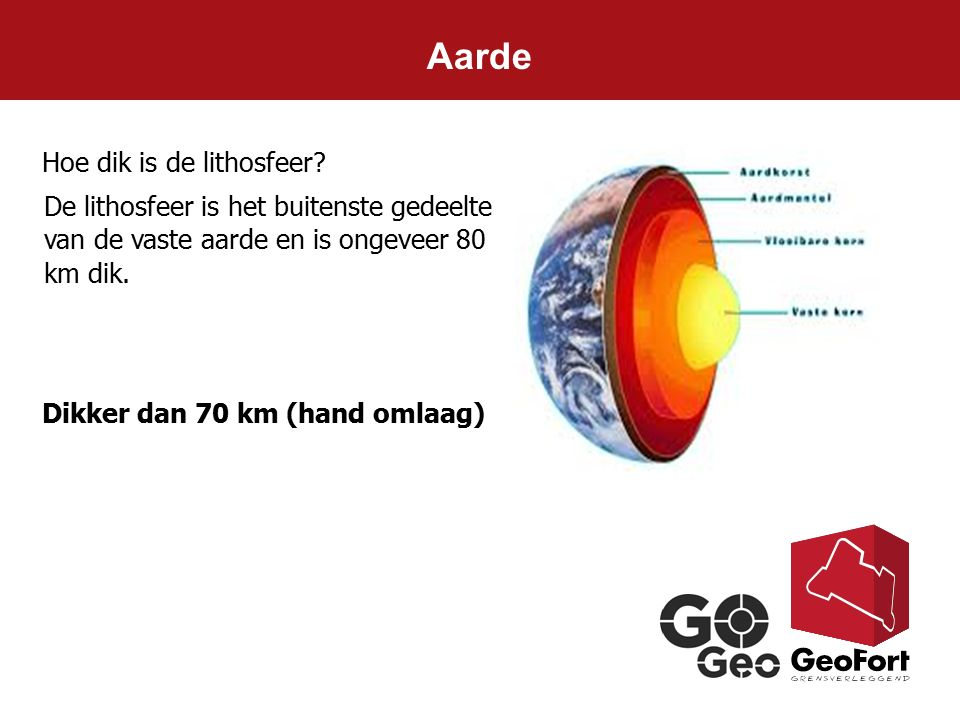 Aarde Hoe dik is de lithosfeer? Dikker dan 70 km (hand omlaag) De lithosfeer is het buitenste gedeelte van de vaste aarde en is ongeveer 80 km dik.