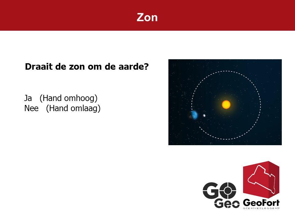Zon Ja (Hand omhoog) Nee (Hand omlaag) Draait de zon om de aarde?