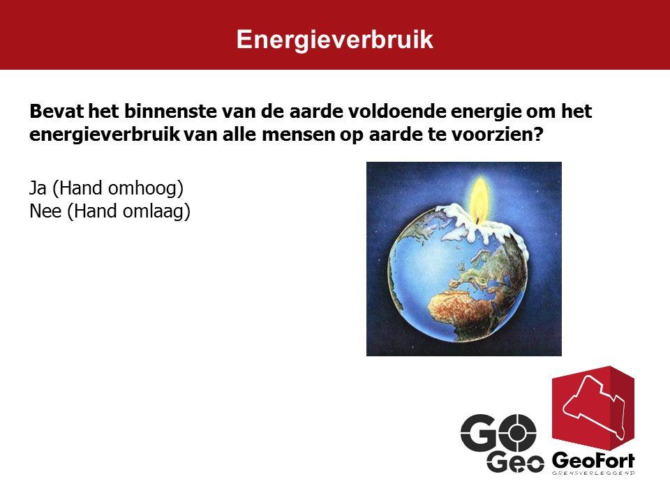 Energieverbruik Bevat het binnenste van de aarde voldoende energie om het energieverbruik van alle mensen op aarde te voorzien? Ja (Hand omhoog) Nee (