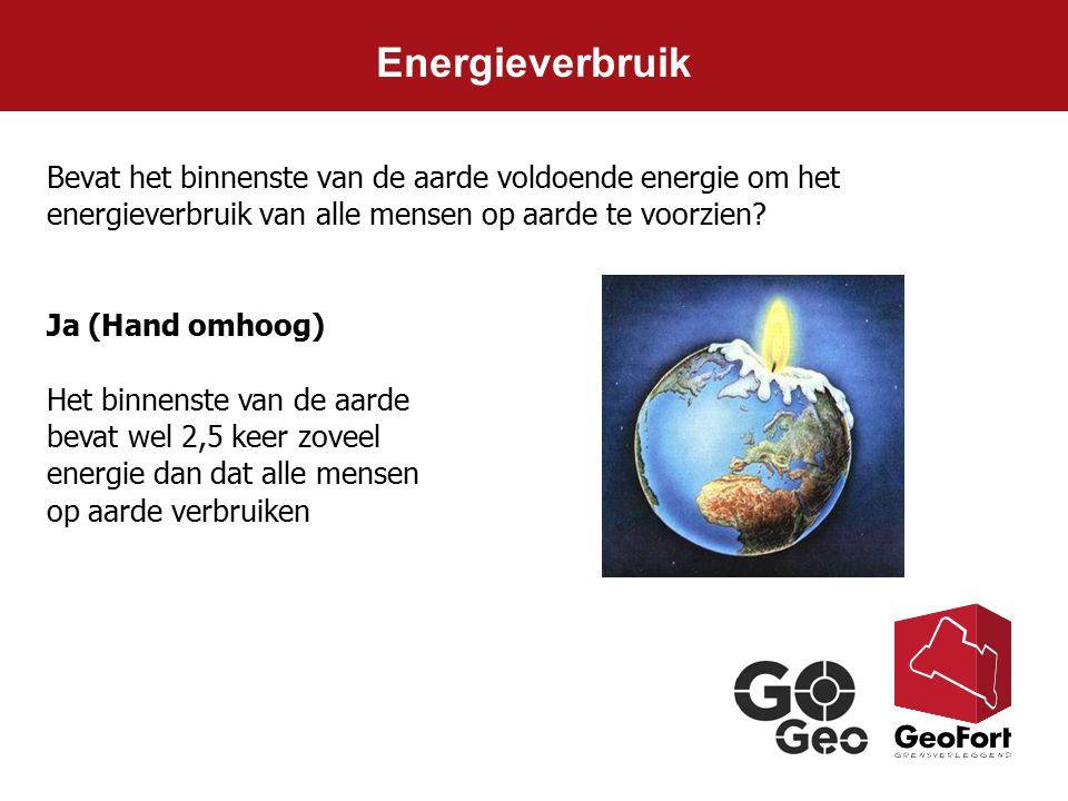 Energieverbruik Ja (Hand omhoog) Het binnenste van de aarde bevat wel 2,5 keer zoveel energie dan dat alle mensen op aarde verbruiken Bevat het binnen