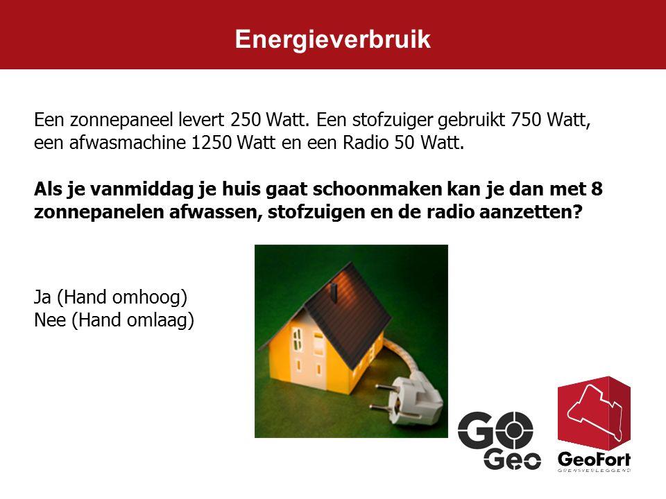 Energieverbruik Ja (Hand omhoog) Nee (Hand omlaag) Een zonnepaneel levert 250 Watt. Een stofzuiger gebruikt 750 Watt, een afwasmachine 1250 Watt en ee