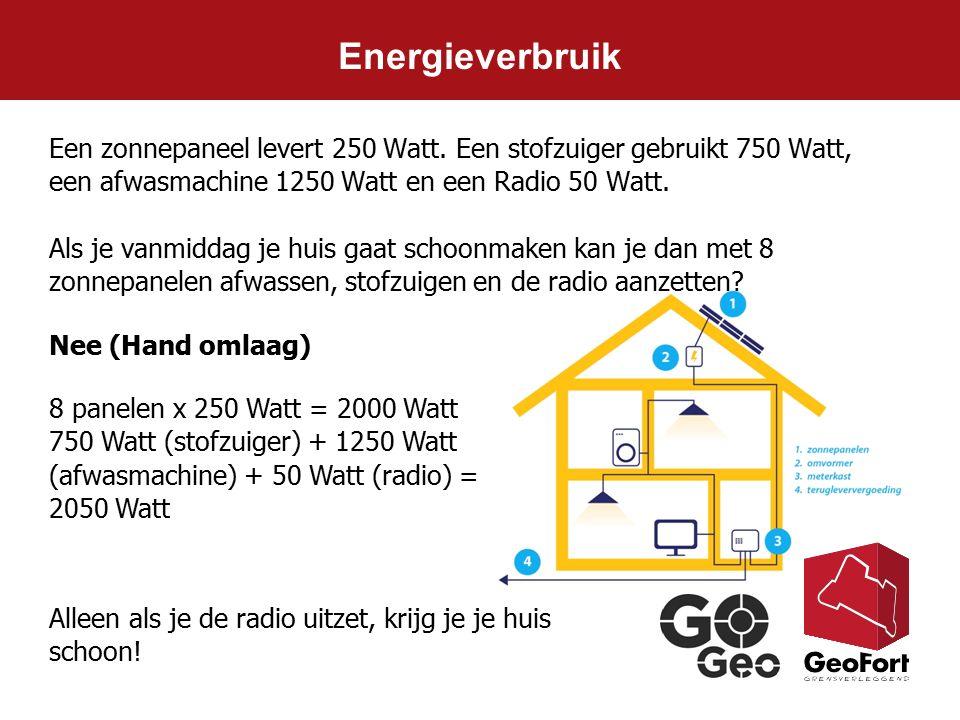 Energieverbruik Nee (Hand omlaag) Een zonnepaneel levert 250 Watt. Een stofzuiger gebruikt 750 Watt, een afwasmachine 1250 Watt en een Radio 50 Watt.