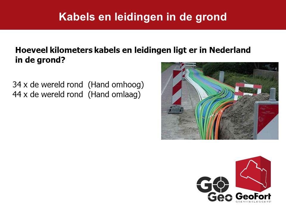 Kabels en leidingen in de grond Hoeveel kilometers kabels en leidingen ligt er in Nederland in de grond? 34 x de wereld rond (Hand omhoog) 44 x de wer