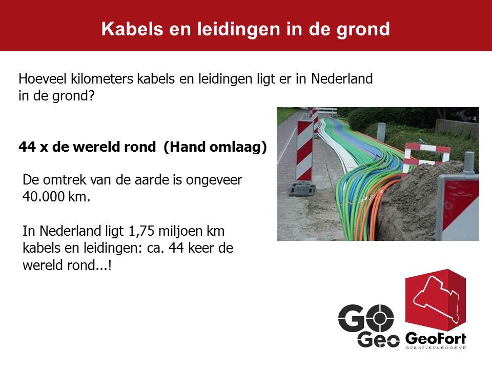 Kabels en leidingen in de grond De omtrek van de aarde is ongeveer 40.000 km. In Nederland ligt 1,75 miljoen km kabels en leidingen: ca. 44 keer de we