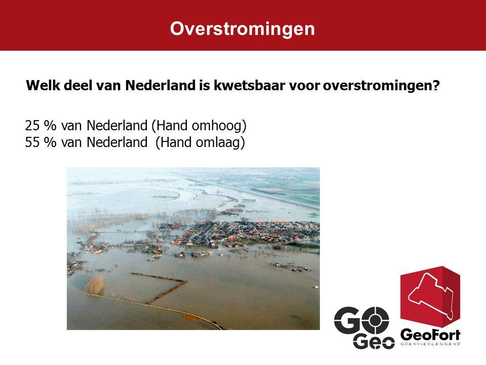 Welk deel van Nederland is kwetsbaar voor overstromingen? Overstromingen 25 % van Nederland (Hand omhoog) 55 % van Nederland (Hand omlaag)
