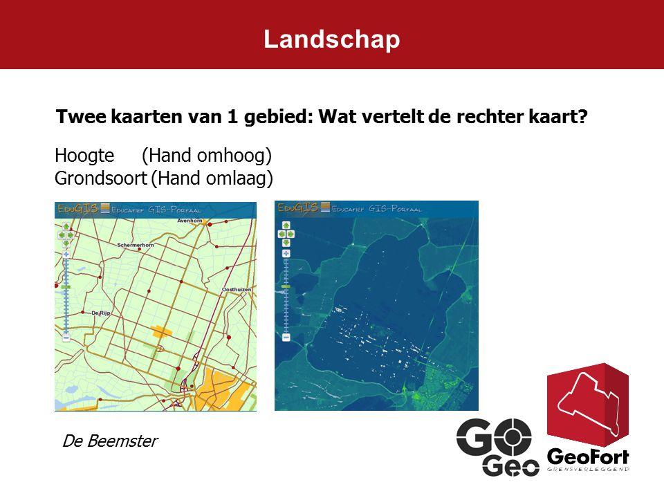Landschap Twee kaarten van 1 gebied: Wat vertelt de rechter kaart? Hoogte (Hand omhoog) Grondsoort (Hand omlaag) De Beemster