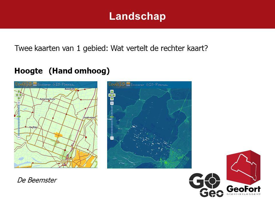 Landschap Twee kaarten van 1 gebied: Wat vertelt de rechter kaart? Hoogte (Hand omhoog) De Beemster