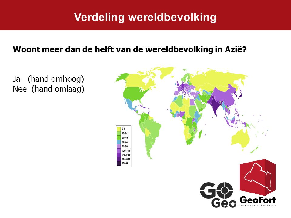 Verdeling wereldbevolking Woont meer dan de helft van de wereldbevolking in Azië? Ja (hand omhoog) Nee (hand omlaag)