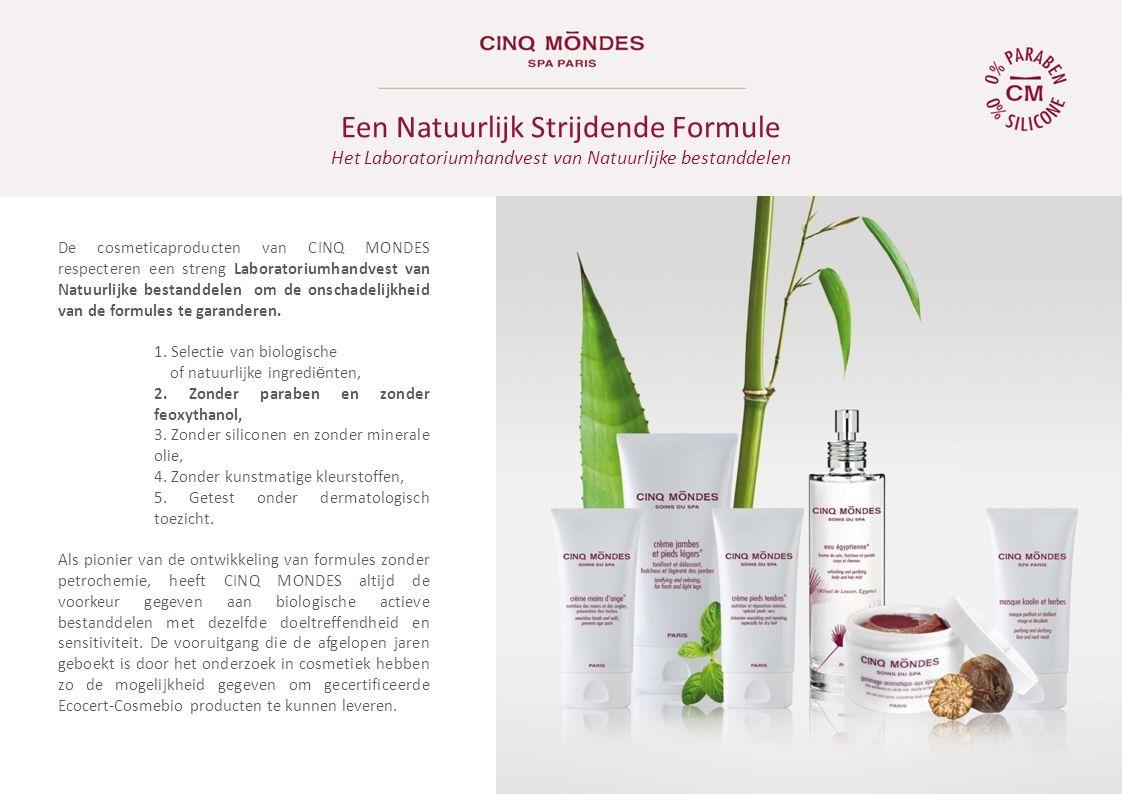 Het Parijse laboratorium van CINQ MONDES, onder supervisie van de apotheker Francine Vaution, zoekt en selecteert hoofdzakelijke de actieve bestanddelen die het meest doeltreffend zijn om deze traditionele recepten aan te passen aan een ultramoderne cosmetiek.