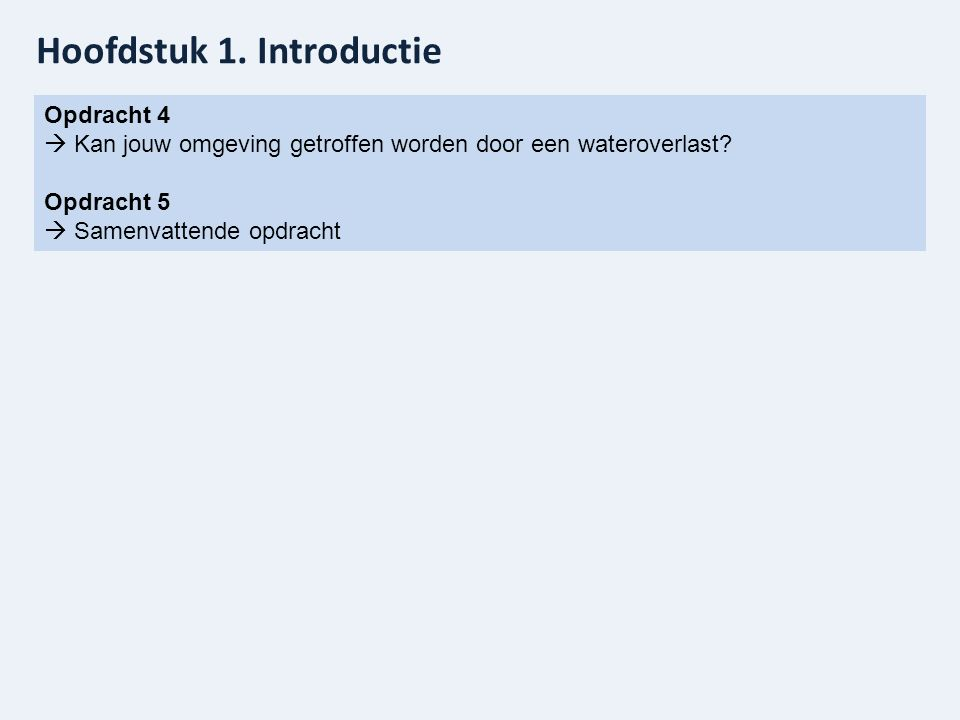 Hoofdstuk 1. Introductie Opdracht 4  Kan jouw omgeving getroffen worden door een wateroverlast? Opdracht 5  Samenvattende opdracht