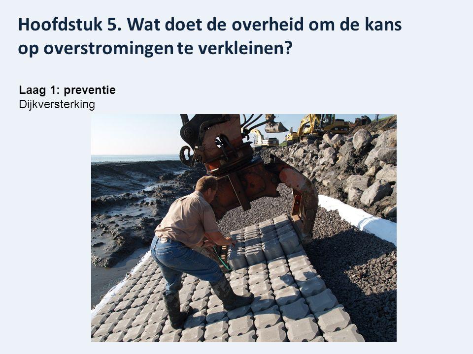 Laag 1: preventie Dijkversterking Hoofdstuk 5. Wat doet de overheid om de kans op overstromingen te verkleinen?