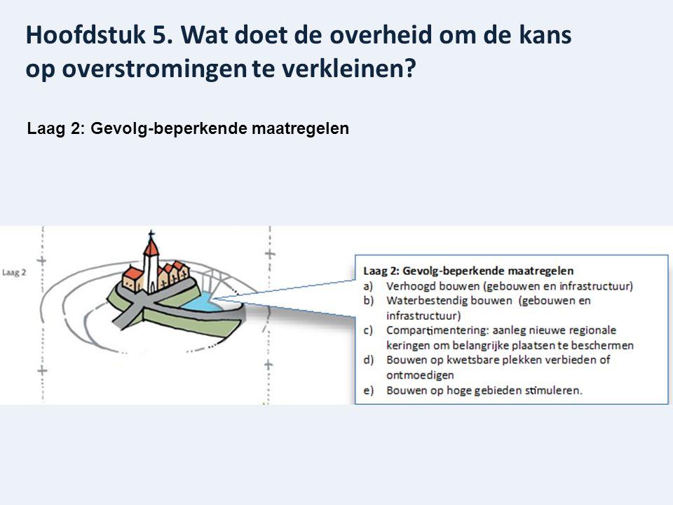 Laag 2: Gevolg-beperkende maatregelen Hoofdstuk 5. Wat doet de overheid om de kans op overstromingen te verkleinen?