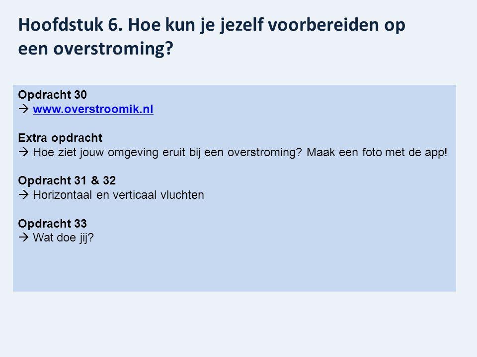 Opdracht 30  www.overstroomik.nl www.overstroomik.nl Extra opdracht  Hoe ziet jouw omgeving eruit bij een overstroming? Maak een foto met de app! Op