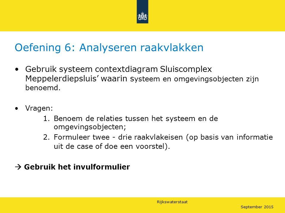 Rijkswaterstaat September 2015 Oefening 6: Analyseren raakvlakken Gebruik systeem contextdiagram Sluiscomplex Meppelerdiepsluis' waarin s ysteem en om
