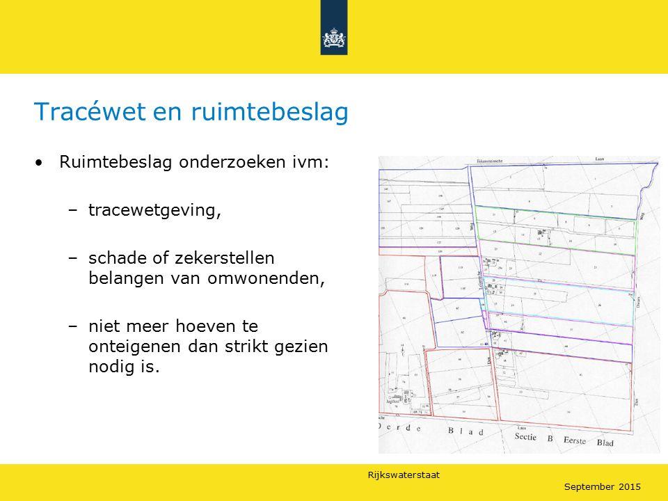 Rijkswaterstaat September 2015 Tracéwet en ruimtebeslag Ruimtebeslag onderzoeken ivm: –tracewetgeving, –schade of zekerstellen belangen van omwonenden