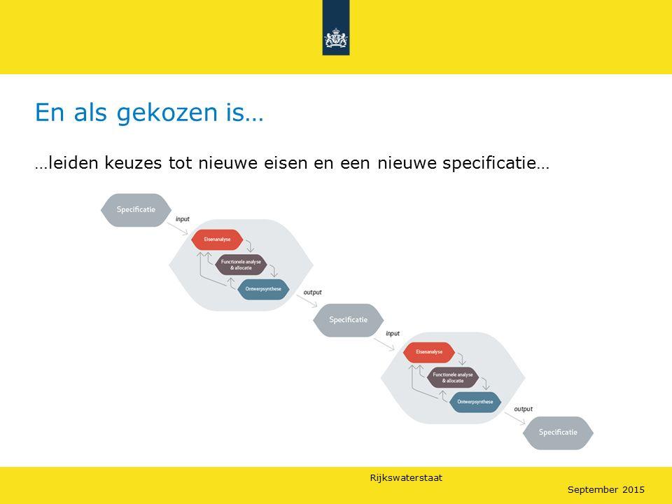 Rijkswaterstaat September 2015 En als gekozen is… …leiden keuzes tot nieuwe eisen en een nieuwe specificatie…