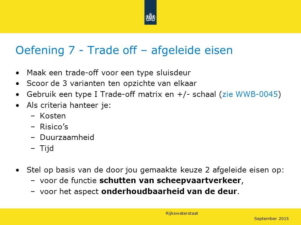 Rijkswaterstaat September 2015 Oefening 7 - Trade off – afgeleide eisen Maak een trade-off voor een type sluisdeur Scoor de 3 varianten ten opzichte v