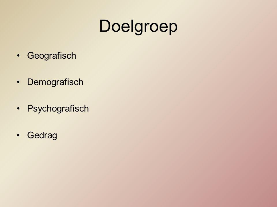 Doelgroep Geografisch Demografisch Psychografisch Gedrag