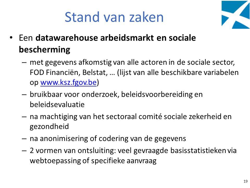 Stand van zaken Een datawarehouse arbeidsmarkt en sociale bescherming – met gegevens afkomstig van alle actoren in de sociale sector, FOD Financiën, B